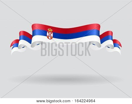 Serbian flag wavy abstract background. Vector illustration.