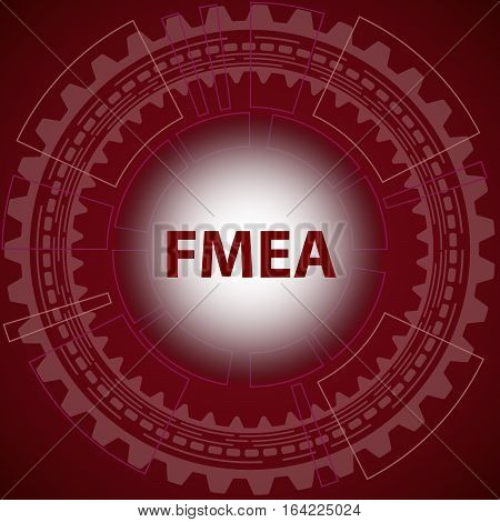 Failure mode and effect analysis strategy background. Red background with gear and title FMEA in middle.