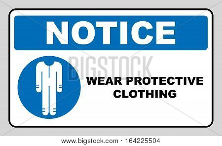 Protective safety clothing must be worn, safety overalls mandatory sign, vector illustration. Information mandatory symbol in blue circle isolated on white. Notice label