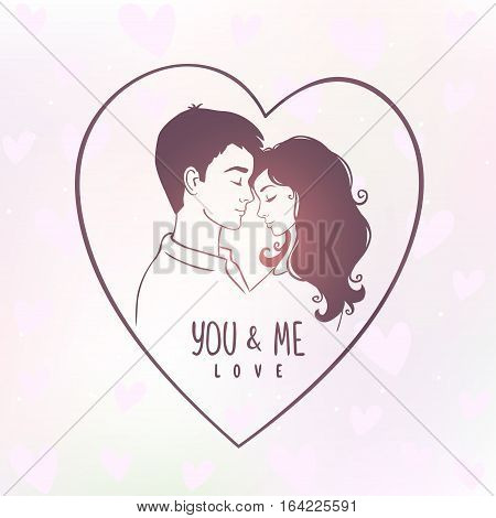 Romantic silhouette of loving couple in a heart. Valentines Day. Happy Lovers. Vector illustration