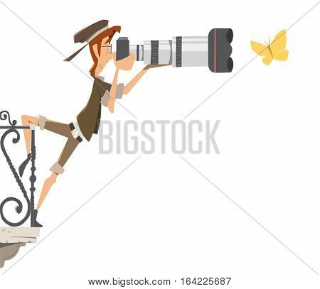 Professional man photographer paparazzi with big camera lens standing on a balcony and shoot take pictures butterfly. Color vector illustration.