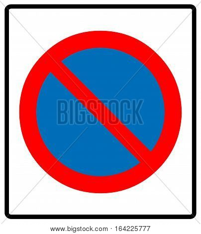 Clearway sign, no parking symbol, red cross in circle isolated on white. Vector illustration. Prohibition label