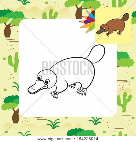 Cartoon illustration of platypus or duckbill animal. Coloring page