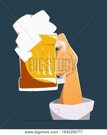 Hand up with big mug glasses of light golden beer. Color vector illustration. Isolated
