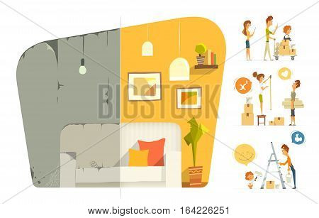 Happy family home house flat apartment room repair. Before and after. Vector color illustration. Isolated on white background.