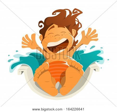 Happy smile kid child boy in aquapark water park. Ride on water slide. Character color vector illustration. Isolated on white background.