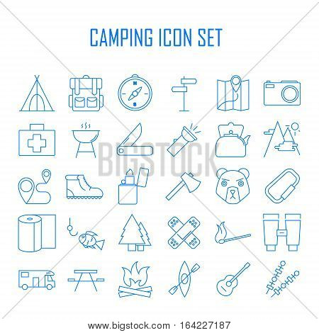 Camping icons. Outdoor equipment.  Plaster, axe, hiking boots, map, compass and other things for camping. Line art vector illustration.