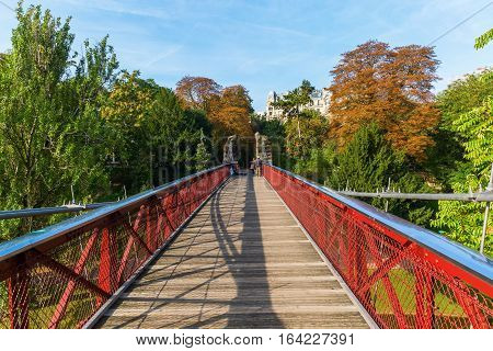 Bridge In The Parc Des Buttes Chaumont, Paris