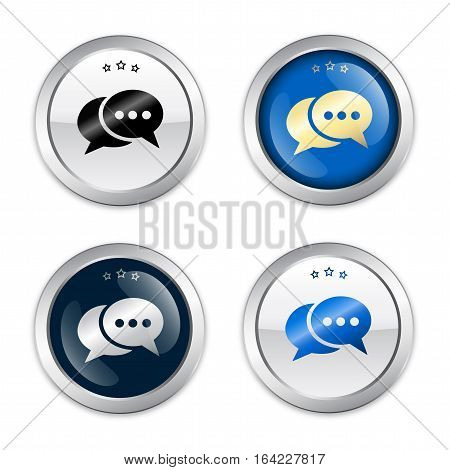 Messenger seal or icon set with speech balloons symbol. Glossy silver seal or button.
