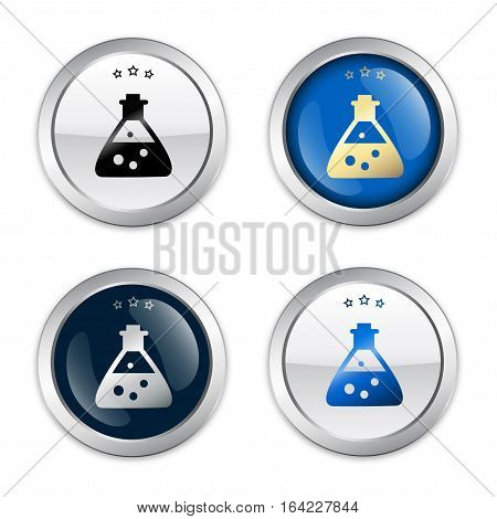 Chemistry seal or icon set with beaker symbol. Glossy silver seal or button.