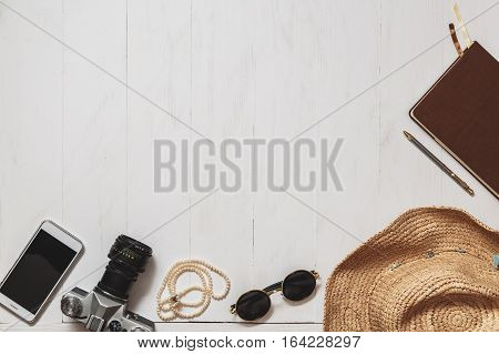 Travel Set Of Hipster Girl: Female Accessories On The White Planked Surface