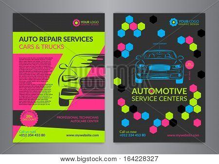 Set Automotive Service Centers business layout templates. A4 auto repair shop Brochure templates automobile magazine cover Geometric Pattern Modern Backgrounds. Vector illustration.