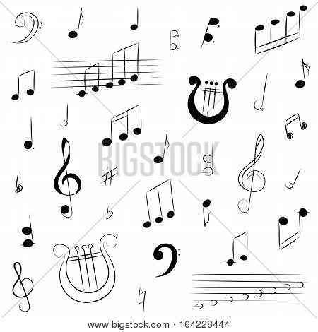 Hand Drawn Set of Music Symbols. Doodle Treble Clef Bass Clef Notes and Lyre. Vector Illustration.
