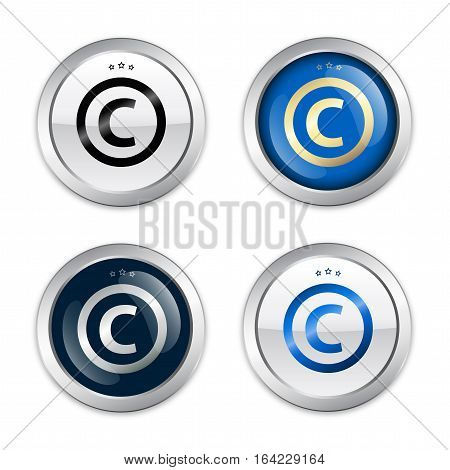 Copyright seal or icon set. Glossy silver seals or buttons.