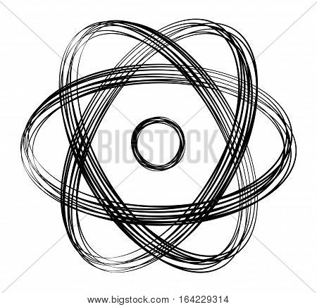 Atomic symbol with black lines. Many overlapping strings produce a dynamic sign. Nucleus in the middle with three ellipses as atomic shell. Abstract isolated illustration on white background. Vector.