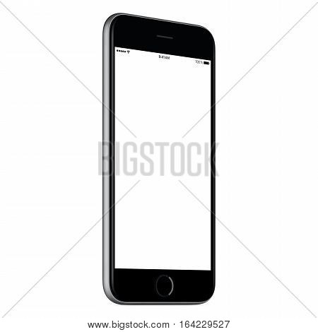 Black mobile smartphone mock up slightly counterclockwise rotated with blank screen isolated on white background. You can use this smartp hone mockup for your web-project or UI design presentation.
