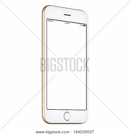 Gold mobile smartphone mock-up slightly counterclockwise rotated with blank screen isolated on white background. You can use this smart phone mockup for your web-project or UI-design presentation.