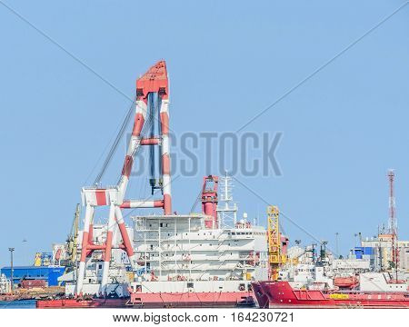 Constanta, Romania - September 15, 2016: Naval Shipyard With Cranes And Many Machinerys