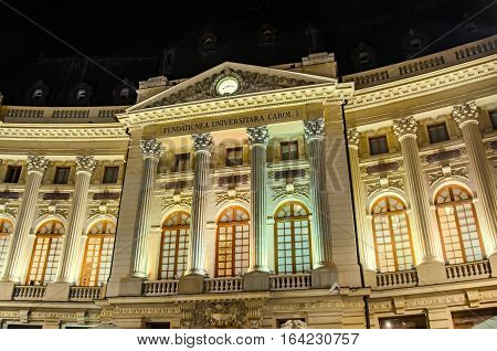 Bucharest, Romania - September 26, 2015: The University King Carol The First From Bucharest Romania,