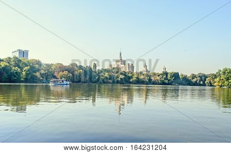 View From Herastrau Park Of House Of The Free Press - Casa Presei Libere, Boat On The Lake