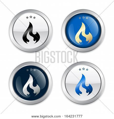 flammable seals or icons with flame symbol. Silver vector icons.