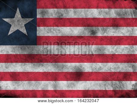 Grunge Liberia Flag.