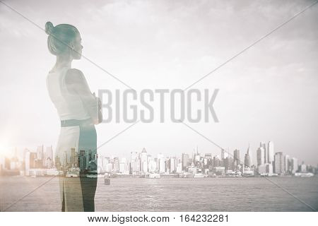 Attractive Woman On City Background