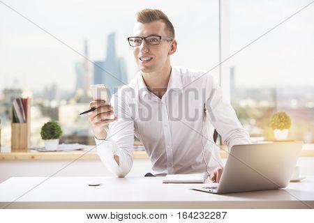 European Man Using Smartphone