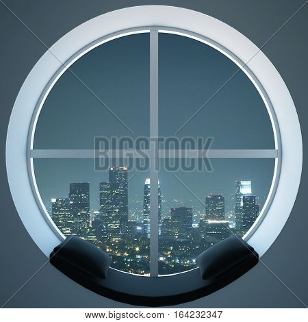 Round Window With Night City View