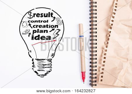 Top view of white desktop with supplies and drawn lamp with text. Business process concept