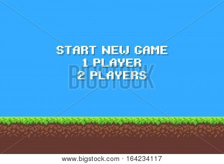 Pixel art game background with grass, dirt, stones, sky and start new game 8-bit text