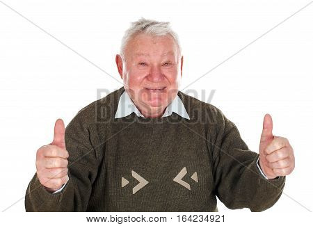 Picture of a confident old man showing thumb up - isolated background