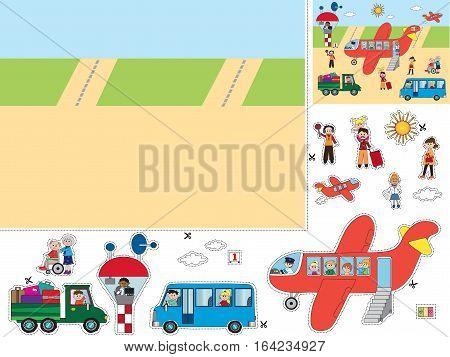 illustration game for children: cut and paste transportation elements