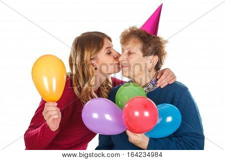 Picture of a happy old lady with her loving grandchild - isolated background