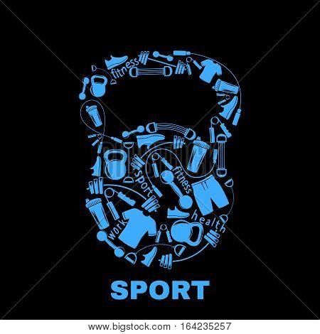 Sports equipment inside kettlebell.Design for t-shirts.Vector illustration