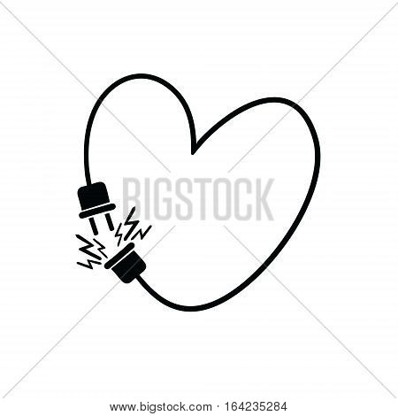 Heart for Valentine's day.  Plug and socket with wire heart original vector illustration.