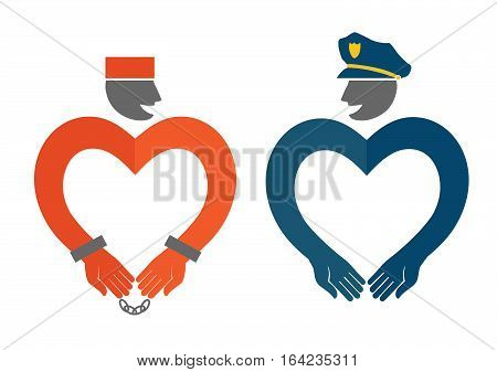 Police and prisoner. Cute original vector illustration. oncept of love. Template for Valentine's day.