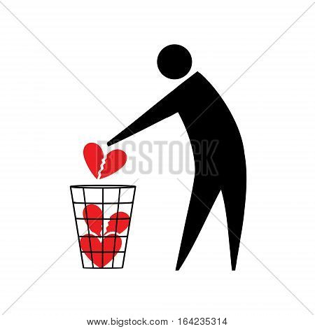 Broken heart. Broken heart. Symbolic man throws in the trash a broken heart. Unrequited love.