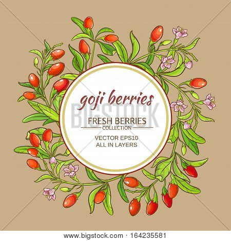 goji berries vector frame on color background