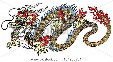 chinese dragon side view vector isolated on white