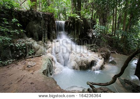 Waterfall in tropical forest at Erawan national park Kanchanaburi province, Thailand.