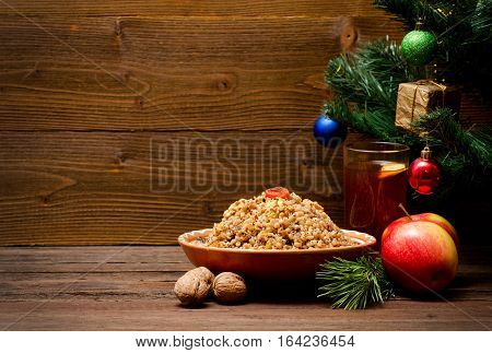 Dish is a traditional Slavic treat on Christmas Eve. Compote tree with an ornament. Space for text