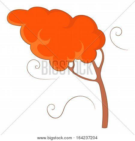 Autumn wind and tree icon. Cartoon illustration of autumn wind and tree vector icon for web design