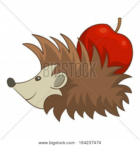 Hedgehog with apple icon. Cartoon illustration of hedgehog with apple vector icon for web design
