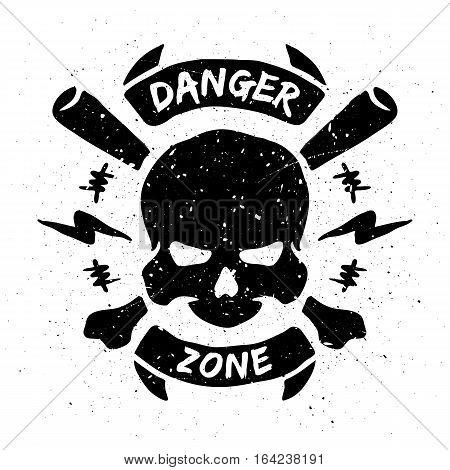 Danger zone emblem in grunge style. Vector illustration.