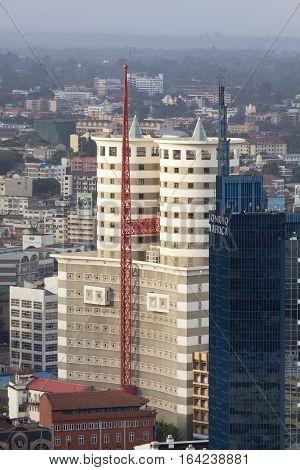 Nairobi Kenya - February 7: Modern highrises in the business district of Nairobi Kenya on February 7 2013