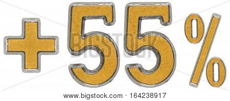 Percent Benefits, Plus 55 Fifty Five Percent, Numerals Isolated On White Background