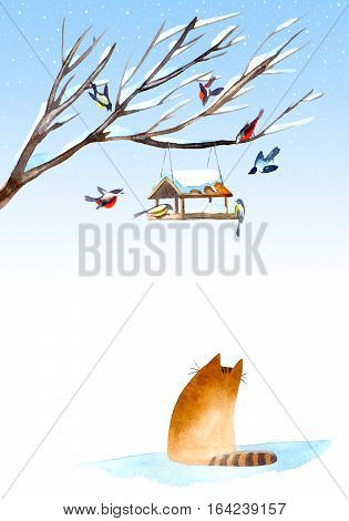 Postcard of a titmouse, bullfinch, cat and feeder on the tree.Greeting card of a animals.Winter image.Watercolor hand drawn illustration.