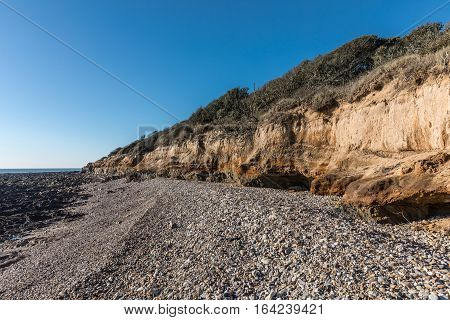 Small cliffs on la Pointe du Payre in the ouest coast of France in Vendee