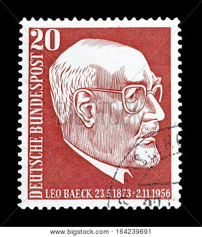 GERMANY - CIRCA 1956 : Cancelled postage stamp printed by Germany, that shows Leo Baeck.